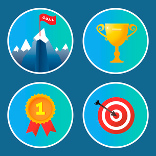 Achievement icons set trophy summit medal and target isolated vector illustrationのイラスト素材 [FYI03092164]