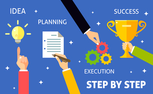 Successful business steps idea planning execution concept vector illustrationのイラスト素材 [FYI03092166]