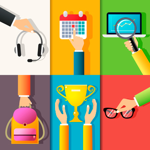 Business hands gestures design elements of holding headphones pointing on calendar isolated vector iのイラスト素材 [FYI03092169]