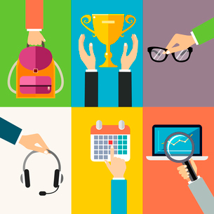 Business hands gestures design elements of holding backpack award cup glasses isolated vector illustのイラスト素材 [FYI03092171]