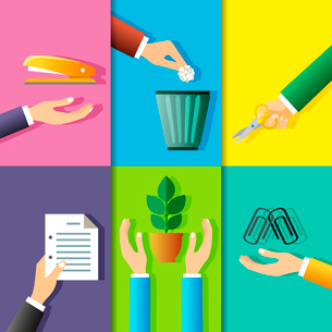 Business hands gestures design elements of office stationery and plant isolated vector illustrationのイラスト素材 [FYI03092173]