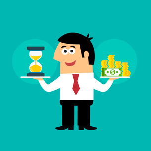 Business life employee with hourglass and coins in time is money concept vector illustrationのイラスト素材 [FYI03092176]