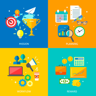 Business process concept mission planning workflow reward icons set vector illustrationのイラスト素材 [FYI03092182]