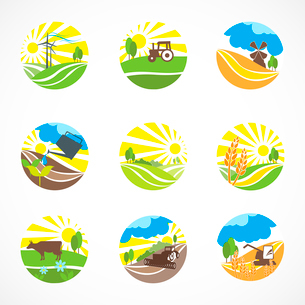 Decorative agriculture and farming landscape icons set isolated vector illustrationのイラスト素材 [FYI03092185]