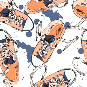 Colored funky gumshoes fashion sneakers grunge style with ink splash seamless pattern vector illustrのイラスト素材 [FYI03092190]