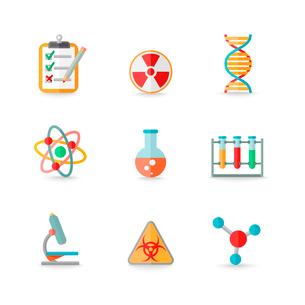 Scientific chemistry laboratory equipment of retort glass atom dna symbols icons set isolated vectorのイラスト素材 [FYI03092191]