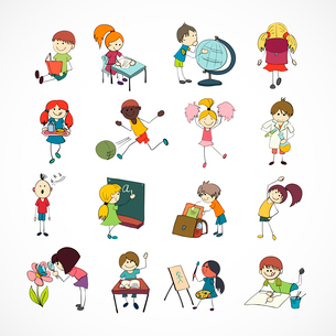 Decorative reading learning singing and playing football school children with backpack doodle sketchのイラスト素材 [FYI03092192]