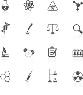 Scientific research chemistry equipment pictograms collection black graphic design icons set isolateのイラスト素材 [FYI03092194]
