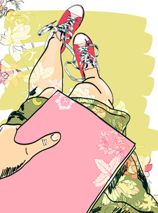 Hand drawn legs in colored funky gumshoes with book flower pattern poster vector illustrationのイラスト素材 [FYI03092195]