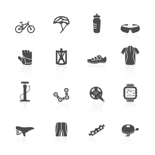Bicycle bike sport fitness flat icons set with water bottle helmet clothes isolated vector illustratのイラスト素材 [FYI03092203]