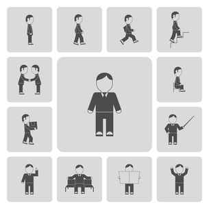 Business person meeting greeting colleague organizing documents folders workplace pictograms collectのイラスト素材 [FYI03092205]