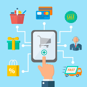 E-commerce internet shopping hand with mobile device and retail icons vector illustrationのイラスト素材 [FYI03092220]