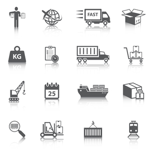 Logistic shipping freight service icons set of delivery truck box container ship isolated vector illのイラスト素材 [FYI03092225]