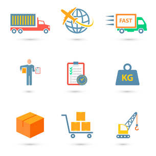 Logistic freight service icons set of truck worldwide shipping fast delivery isolated vector illustrのイラスト素材 [FYI03092227]
