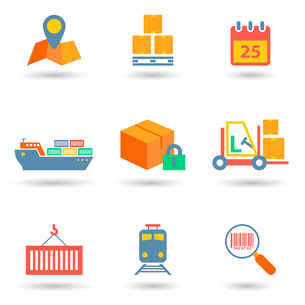 Logistic freight service flat icons set of cargo ship train isolated vector illustrationのイラスト素材 [FYI03092228]