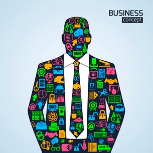 Businessman person business concept with finance marketing development icons vector illustrationのイラスト素材 [FYI03092229]
