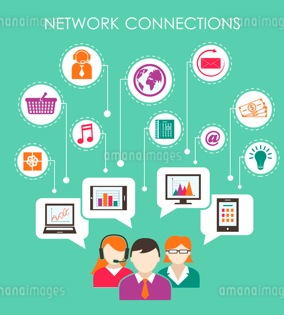Social network connection concept with people online media and mobile devices vector illustrationのイラスト素材 [FYI03092230]