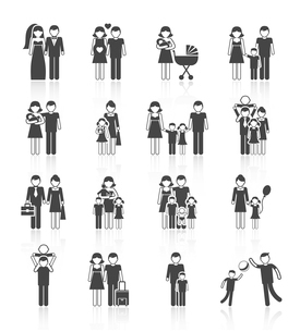 Family figures icons set of parents children couple isolated vector illustrationのイラスト素材 [FYI03092231]