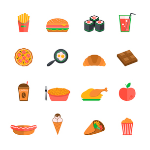 Fast junk food icons flat set of french fries hamburger sushi soda drink isolated vector illustratioのイラスト素材 [FYI03092233]