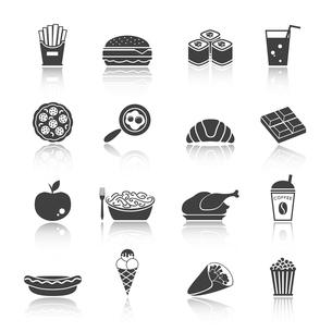 Fast junk food icons set of sandwich hot dog pizza hamburger  isolated vector illustrationのイラスト素材 [FYI03092234]