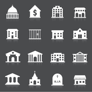 Government building icons set of hospital fire station cemetery isolated vector illustrationのイラスト素材 [FYI03092235]