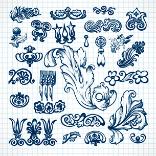 Floral and leaves decorative elements sketch  set on squared paper isolated vector illustrationのイラスト素材 [FYI03092239]