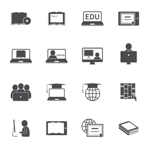 Online education e-learning silhouette video tutorial training icons set vector illustrationのイラスト素材 [FYI03092243]
