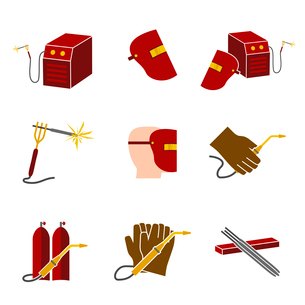 Welder industry construction work protection and profession elements flat icons set isolated vectorのイラスト素材 [FYI03092244]