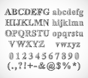 Sketch hand drawn alphabet black and white font letters numbers and symbols isolated vector illustraのイラスト素材 [FYI03092246]