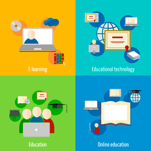 Online education e-learning flat webinar digital school icons set isolated vector illustrationのイラスト素材 [FYI03092247]