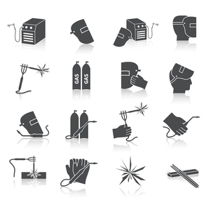 Welder industry construction work repair and manufacturing instruments black icons set isolated vectのイラスト素材 [FYI03092248]