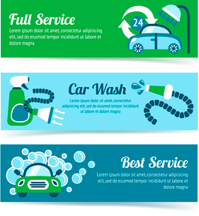Car wash auto cleaner washer shower service banners set isolated vector illustrationのイラスト素材 [FYI03092250]