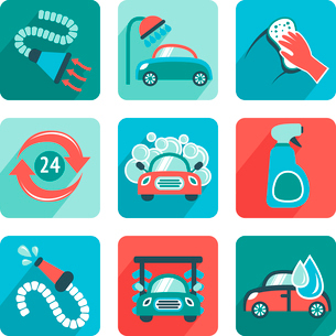 Car wash flat auto cleaner washer shower service isolated icons vector illustrationのイラスト素材 [FYI03092253]