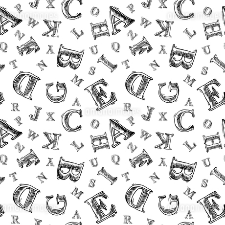 Sketch hand drawn alphabet black and white font letters seamless pattern vector illustrationのイラスト素材 [FYI03092254]