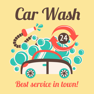 Car wash auto cleaner best service in town 24h poster vector illustration.のイラスト素材 [FYI03092255]