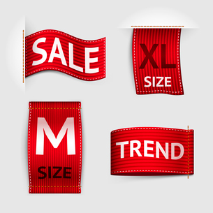 Clothing size trend sale red label ribbon set isolated vector illustrationのイラスト素材 [FYI03092259]