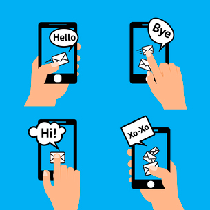 Hand holding smartphone touching screen  sending receiving messages icons isolated vector illustratiのイラスト素材 [FYI03092260]