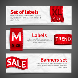 Clothing size trend sale red label ribbon banners set isolated vector illustrationのイラスト素材 [FYI03092261]