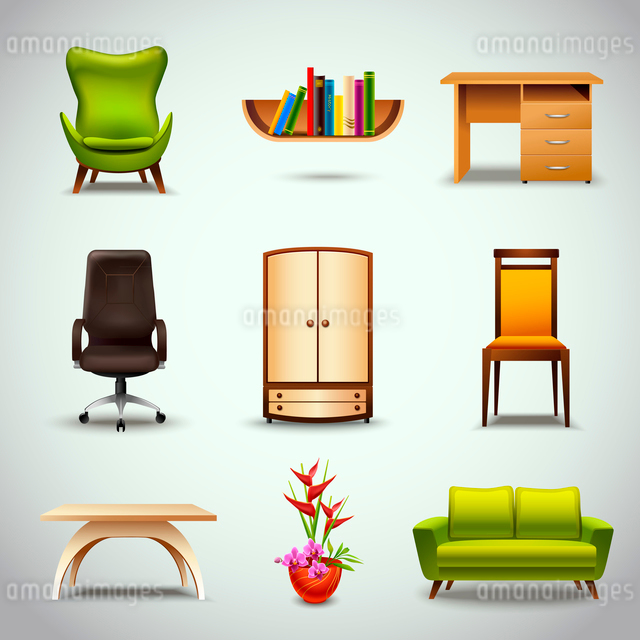 Furniture realistic decorative icons set of chair bookshelf table  isolated vector illustrationのイラスト素材 [FYI03092269]
