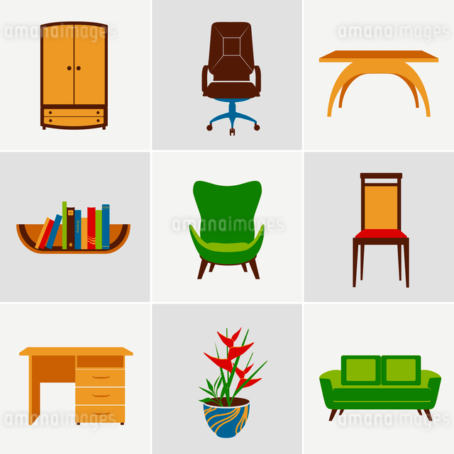 Furniture flat decorative icons set of chair bookshelf table  isolated vector illustrationのイラスト素材 [FYI03092271]