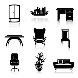 Furniture black decorative icons set of wardrobe armchair sofa isolated vector illustrationのイラスト素材 [FYI03092272]