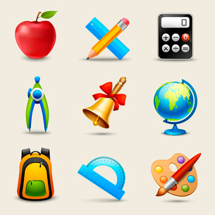 Realistic school icons set of calculator globe backpack isolated vector illustrationのイラスト素材 [FYI03092273]