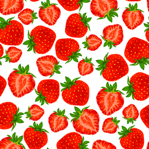 Natural fresh organic garden and forest strawberry seamless pattern vector illustrationのイラスト素材 [FYI03092275]