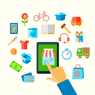 E-commerce shopping with hand touching screen and icons vector illustration.のイラスト素材 [FYI03092276]