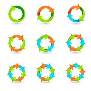 Circle round colored icons set loop cycle repeat redo signs isolated vector illustrationのイラスト素材 [FYI03092277]