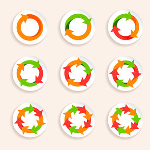Circle round colored icons stickers set isolated vector illustrationのイラスト素材 [FYI03092278]