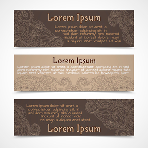 Retro lacework ornamental banners horizontal set  isolated vector illustrationのイラスト素材 [FYI03092279]