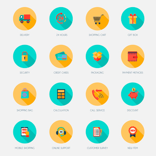 E-commerce shopping icons flat set of delivery shopping cart gift box isolated vector illustrationのイラスト素材 [FYI03092280]
