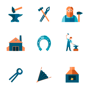 Decorative blacksmith shop anvil steel tongs tools and horseshoe pictograms icons collection flat isのイラスト素材 [FYI03092286]
