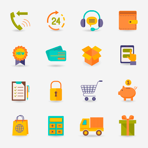 E-commerce shopping icons flat set of delivery truck credit card piggy bank isolated vector illustraのイラスト素材 [FYI03092287]